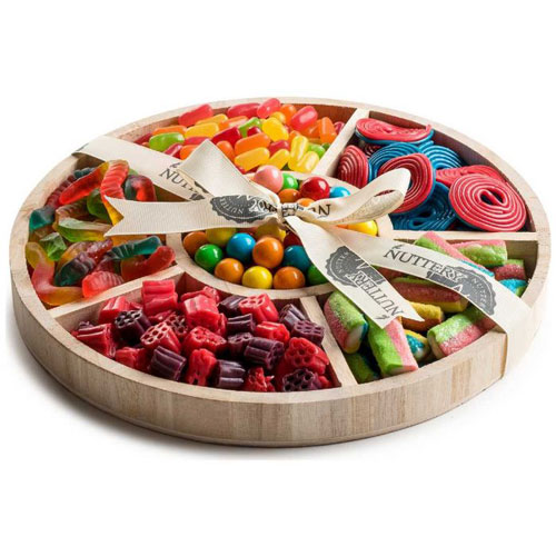 Kosher Six Section Wooden Round Gift Tray With Candy