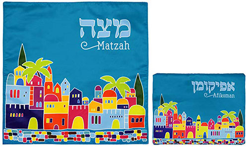 Matzah Cover & Afikoman Bag Set For Passover Satin Blue Matzo Set
