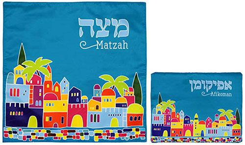 Matzah Cover & Afikoman Bag Set For Passover Satin Blue Matzo Set