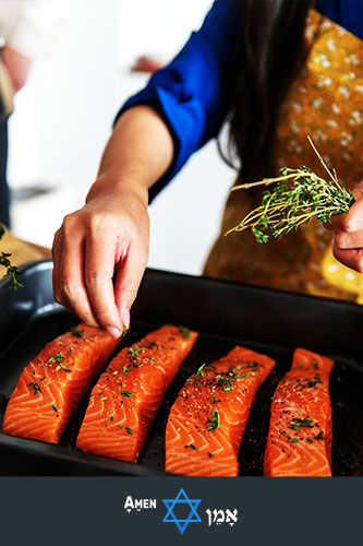 Passover Cooking Salmon