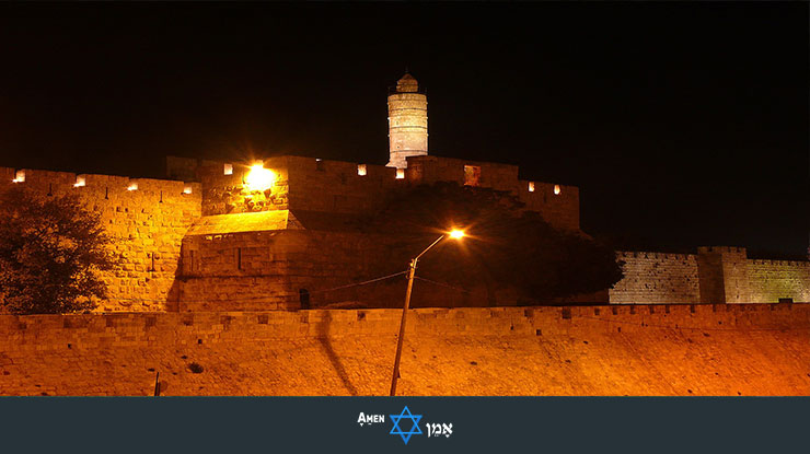 Jerusalem Tower Of David Night