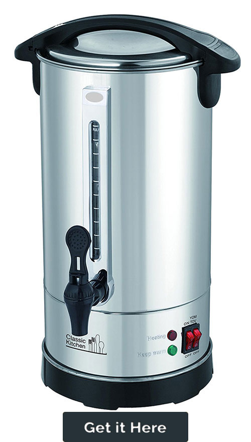 40 Cup Stainless Steel Double Wall Insulated Hot Water Urn Bluegray