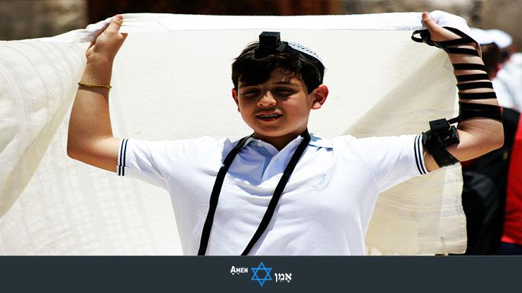 Bar Mitzvah Boy Wearing Tallit