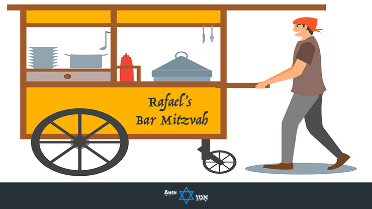 Bar Mitzvah Caterer Food Station Illustration