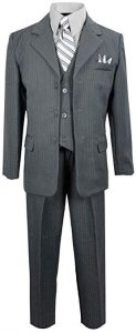 Black N Bianco Pinstripe Suit With Matching Tie