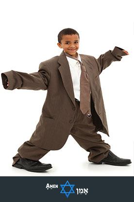 Boy Wearing Oversized Suit