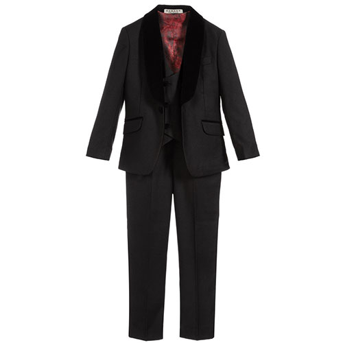 Romano Black Velvet Trim 3 Piece Suit