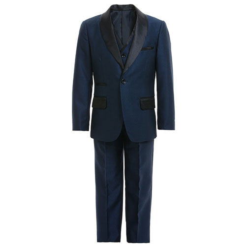 Romano Vianni Boys Navy Blue & Black Satin 3 Piece Suit