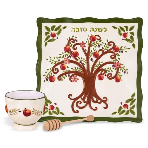 Rosh Hashanah Honey Dish Ceramic Plate & Bowl Set