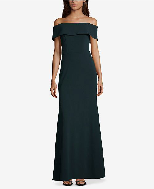 Betsy & Adam Ruffled Back Off The Shoulder Gown