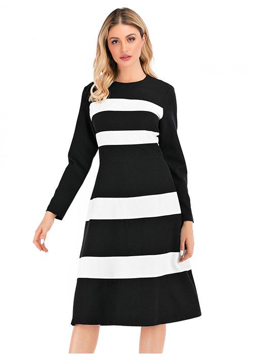 Black & White Modest A Line Dress
