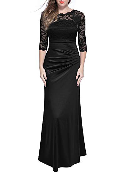 Womens Retro Floral Lace Vintage Dress
