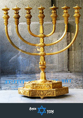 Golden Menorah Jewish Temple