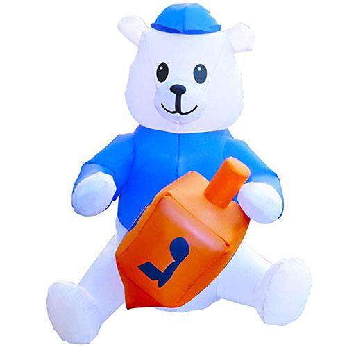 Hanukkah Inflatable Polar Bear With Dreidel