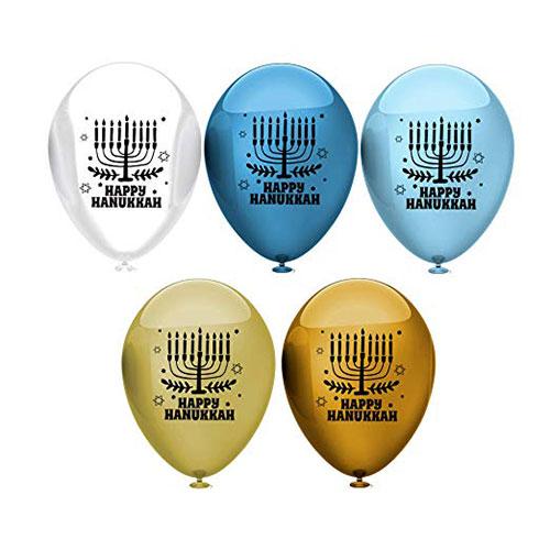 Hanukkah Latex Balloons With Menorah Design