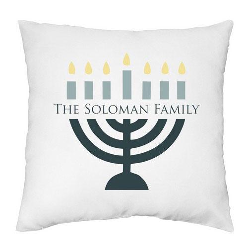 Hanukkah Menorah Personalized Family Pillow Case