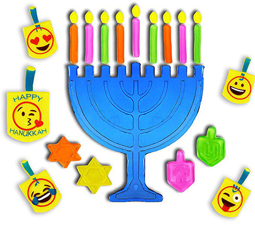 Hanukkah Menorah And Dreidel Window Gel Clings