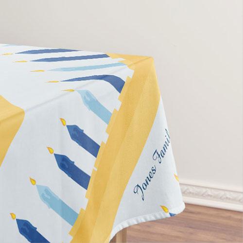 Hanukkah Menorah Blue And Gold Tablecloth