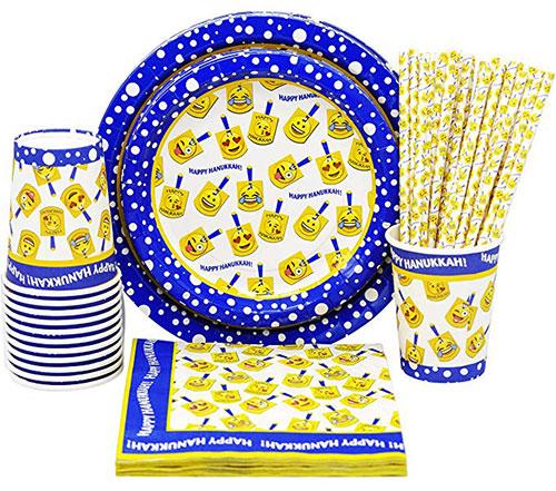 Hanukkah Party Paper Goods Set Dreidel Design
