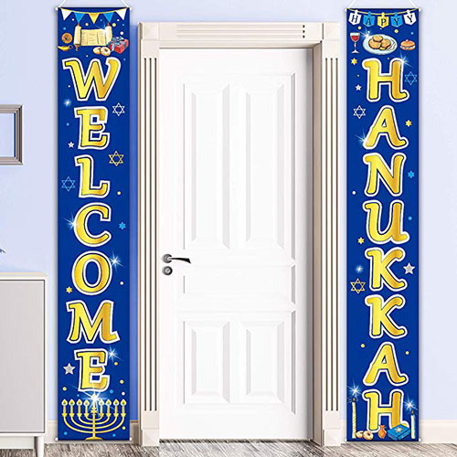 Hanukkah Party Porch Sign Welcome Banner