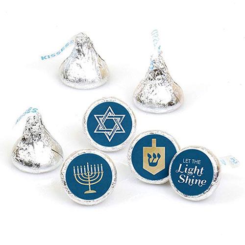 Hanukkah Round Candy Sticker Favors Hersheys Kisses