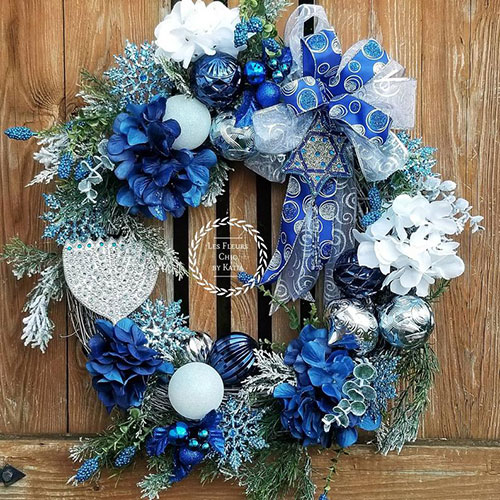 Hanukkah Star Of David & Menorah Wreath