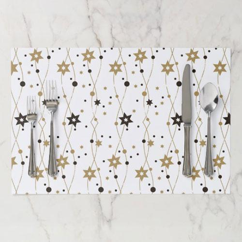 Hanukkah Stars In Gold Paper Placemat