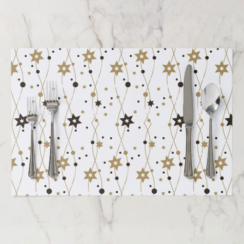 Hanukkah Stars In Gold Paper Placemat