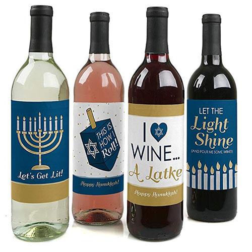 Hanukkah Wine Bottle Label Stickers