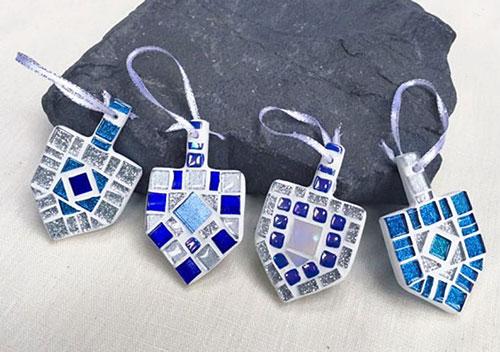 Mini Mosaic Dreidel Ornament