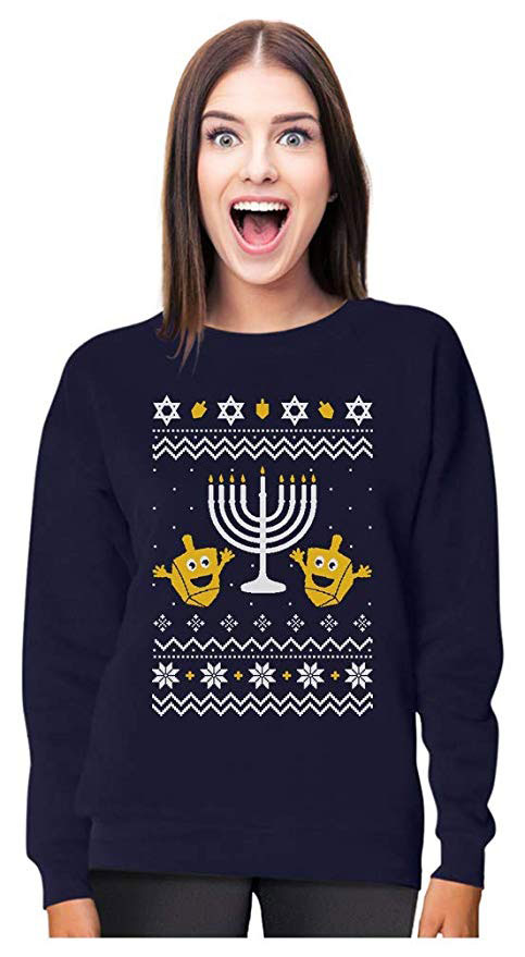 Funny Dreidels & Menorah Ugly Hanukkah Sweatshirt