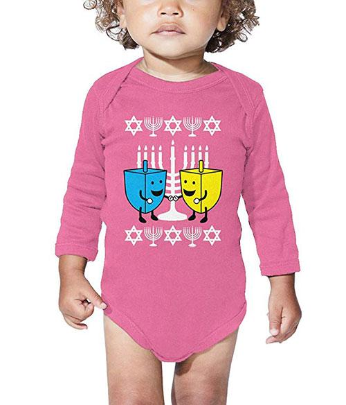 Happy Dreidels Ugly Hanukkah Sweater Bodysuit