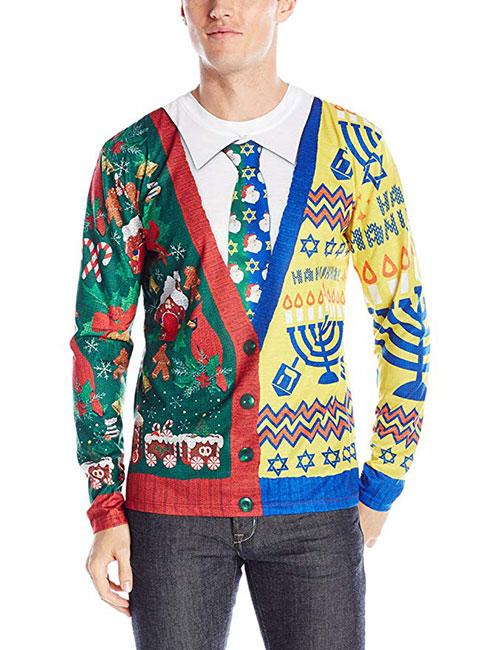 Men's 3d Photo Realistic Ugly Christmas & Hanukkah Sweater