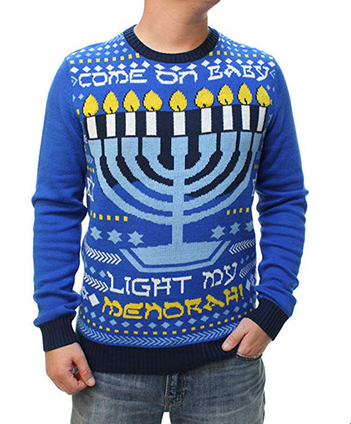 Men's Come On Baby Light My Menorah Sweater With Flashing Led Led Lights