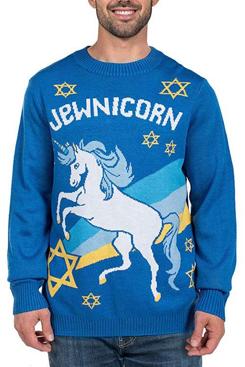 Men's Funny Jewnicorn Hanukkah Sweater