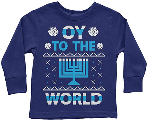 Oy To The World Hanukkah Toddler Long Sleeve T Shirt