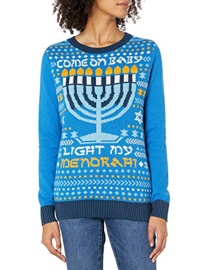 Womens Come On Baby Light My Menorah Sweater With Flashing Led Led Lights
