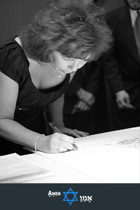 Female Witness Signing The Ketubah